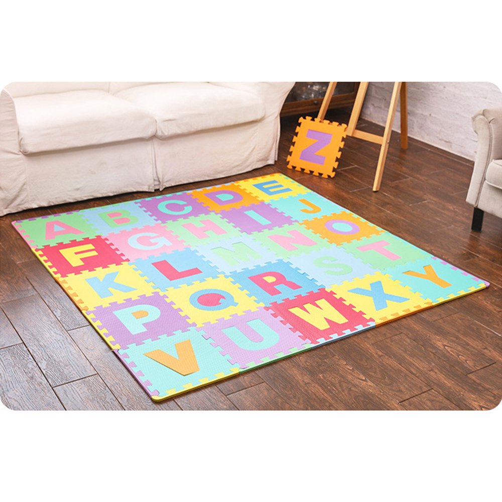 26 Pieces Letters Kids Toys Puzzle Mats Baby Toys Kids Rug Toys for Children Carpet Developing Mat Baby Play Mats Playmat Foam children alphanumeric jigsaw puzzle toys foam mat 36 pieces per package education toys building