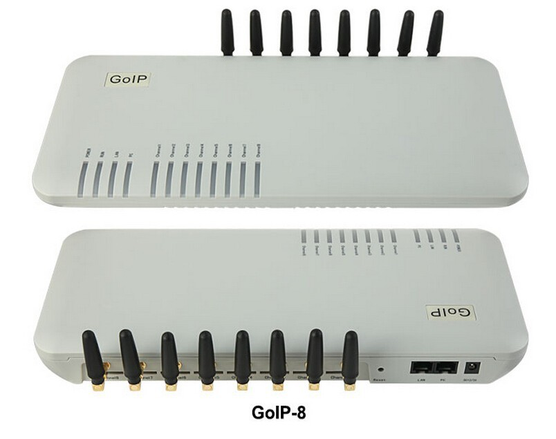 Wholesale and retail gsm voip gateway,goip 8 port gsm sms voip gateway,GoIP-8  Fast Shiping! goip16 gsm voip gateway with 16 channels goip support sim bank and bulk sms with short antennas