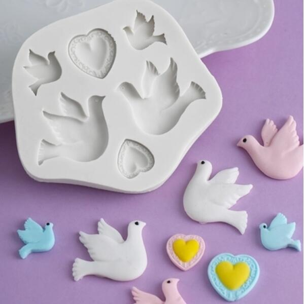 Love Dove Of Peace Chocolate Resin Clay Silicone Mold Sugarcraft Fondant Mould Cake Decorating Tools Cartoon Pigeon Moulds