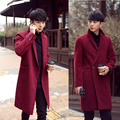 2017 winter mens thermal thick outerwear men's casual warm clothing male fashion long design cashmere overcoat Wool & Blends