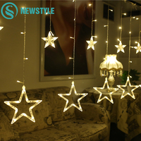 AC220V Starry LED String Lights 2M 138LEDs Twinkle Star Fairy Lights Curtain Bulbs Garland Party Wedding