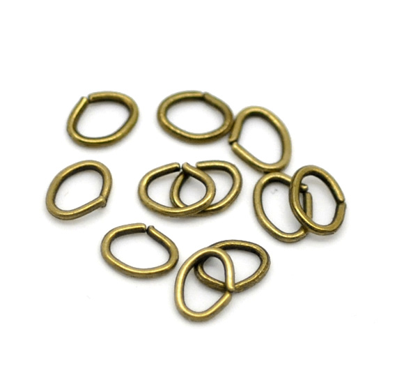 DoreenBeads Alloy Opened Jump Rings Oval Antique Bronze 5mm( 2/8