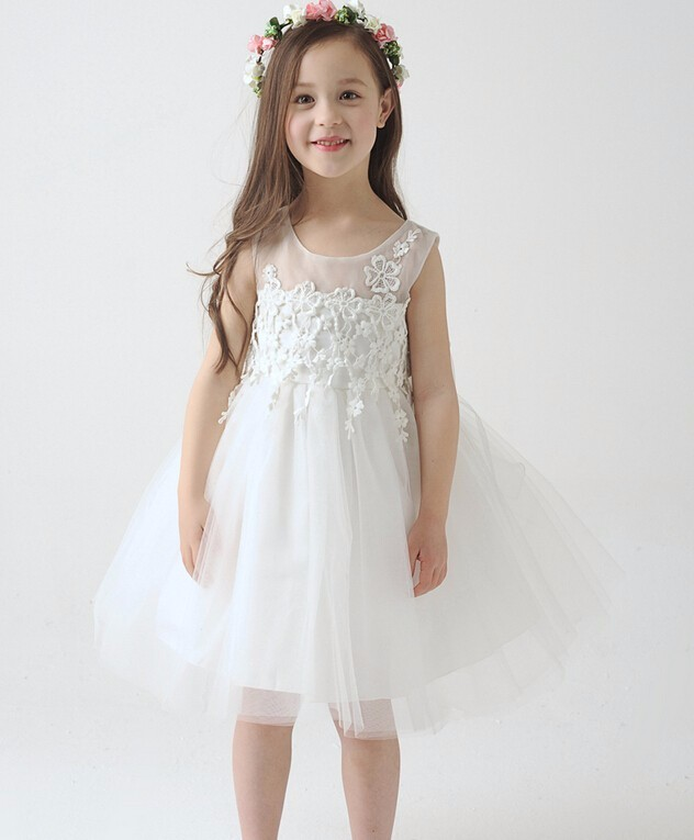 2015 New White Lace Tulle Flower Girl Dress Little Princess Communion Dresses Ball Gown Quality Girls Dress for Wedding Party