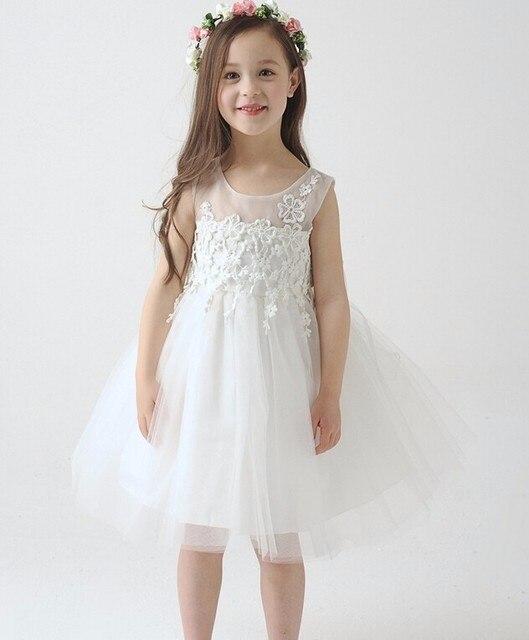 a6ca8be6f9 2015 nowy biały koronki tiul sukienka dla dziewczynki z kwiatami mała  księżniczka sukienki komunijne suknia balowa