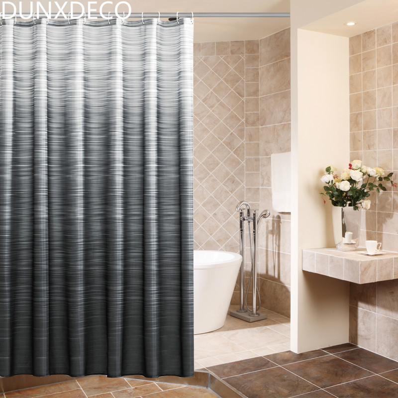 Black And Grey Shower Curtain PEVA Raya Shower Curtain in Black