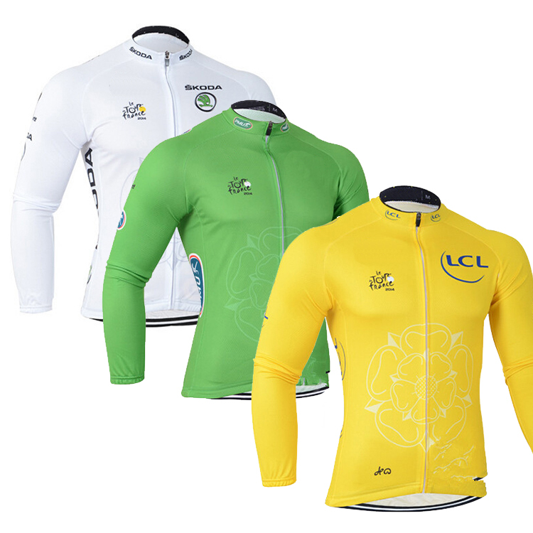 Prix pour Nouveau Tour de france à Vélo Jersey Vélo vêtements Ropa ciclismo VTT Haute qualité à manches longues vélo bicicleta jersey 4 couleurs