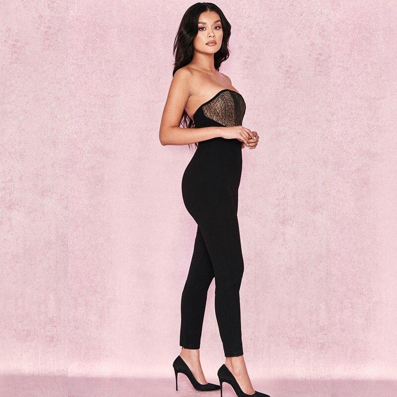 Donne Senza Fasciatura Di 2019 Nero Elegante Aderente Sexy Del Merletto Festa Tuta Rappezzatura Dalla Della Nuove Bretelle Modo Clubwear Celebrità Backless m8N0wn
