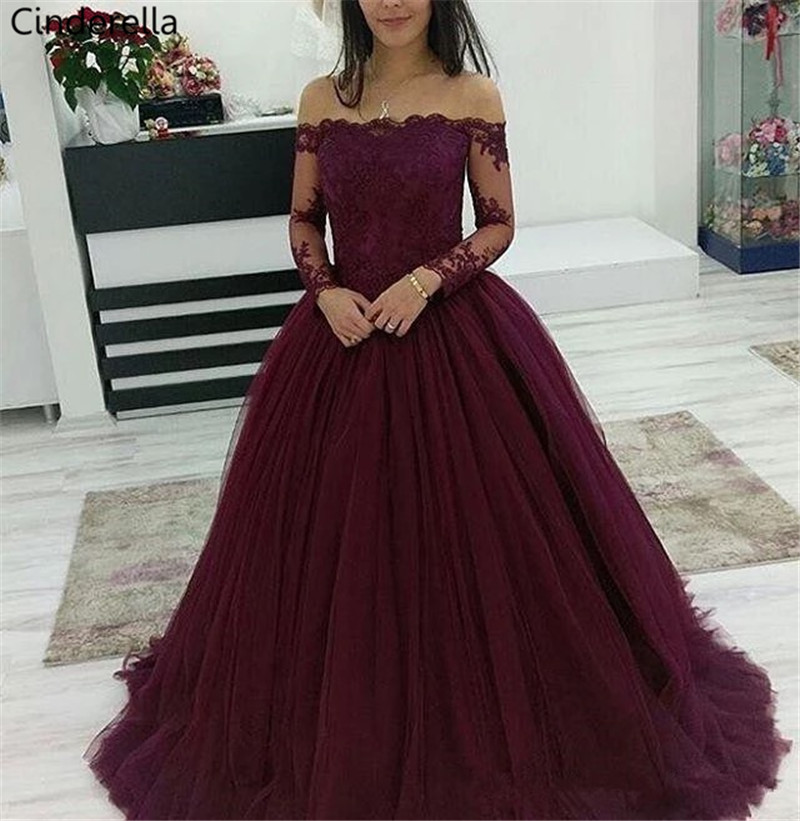 Cinderella Long Sleeves Boat Neck Off The Shoulder Soft Tulle Lace Applique   Evening     Dresses   vestidos de fiesta de noche