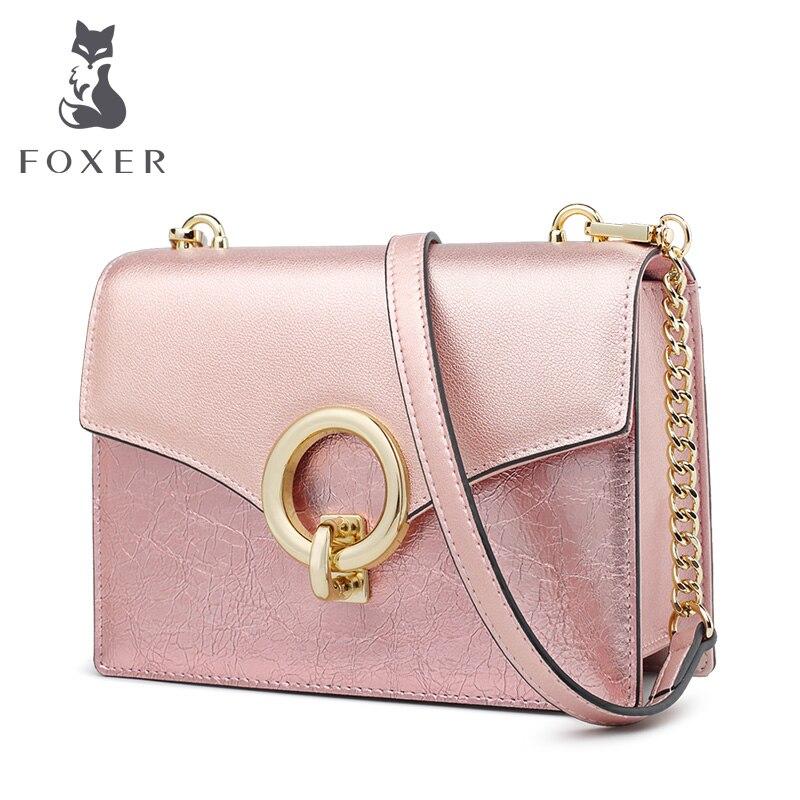 FOXER marque fille belle petits sacs à bandoulière jeunes femmes en cuir Qute élégant sacs à bandoulière femme Messenger sacs sacs à rabat
