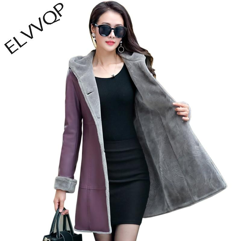 2018 New Women Long   Leather   Jacket Coat Female Winter Long Sleeve   Suede   Fur Jacket Women Hooded warm Motorcycle Jacket NW660