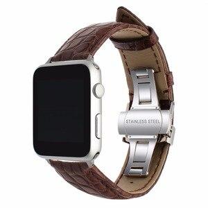 Image 5 - אמיתי תנין עור רצועת השעון עבור iWatch אפל שעון 38mm 40mm 42mm 44mm סדרת 5 4 3 2 1 להקת פרפר אבזם קרוקו רצועה