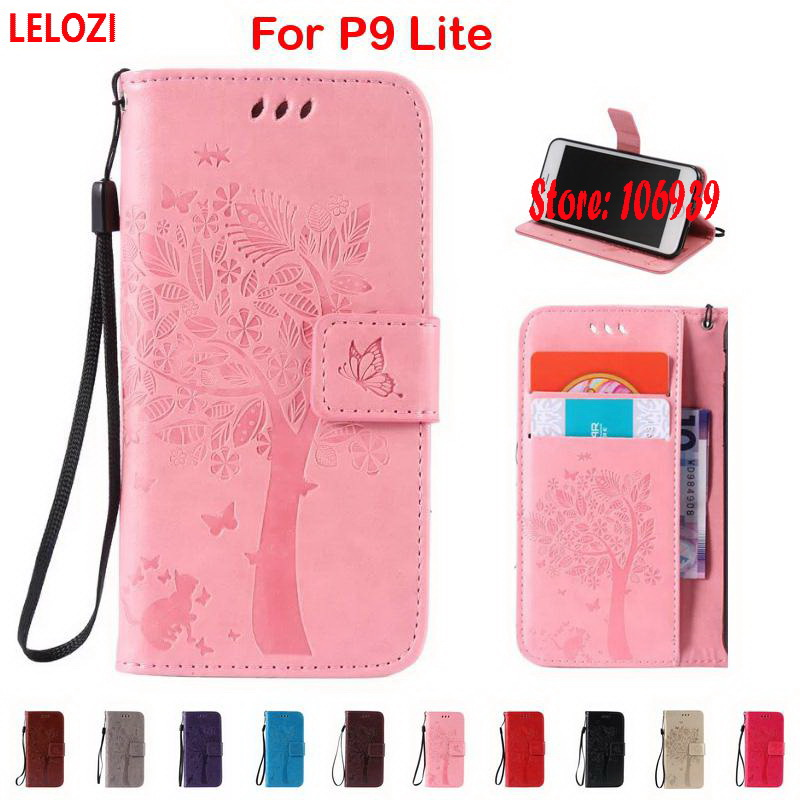 LELOZI Tree Cat Butterfly PU Leather Wallet Women Case For Huawei P9 Lite G9Lite Mini Rose Gold Grey Cheap Coffee Best Black