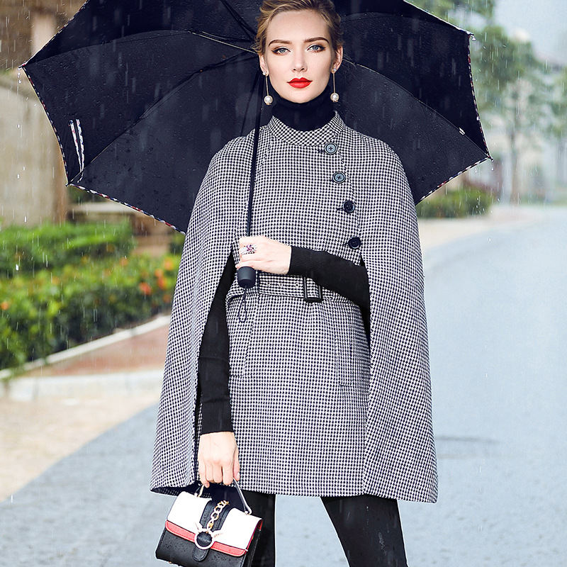 Kakagogo Classical England Style Office Lady Long Bat Sleeve Batwing Houndstooth Swallow Gird Trench font b