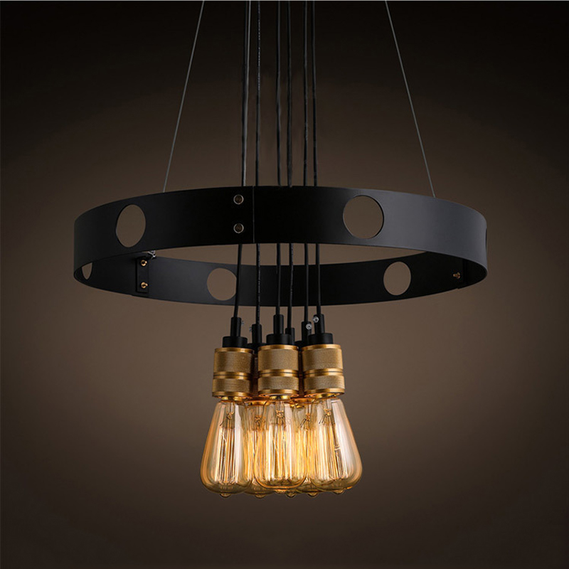 Eusolis 6 Heads Industrial Pendant Light Loft Vintage Kroonluchter Ijzer Droplight Modern Lighting Fixture Dining Room Lights american country umbrella pendant lights fixture modern vintage glass single droplight home indoor dining room lighting d25cm