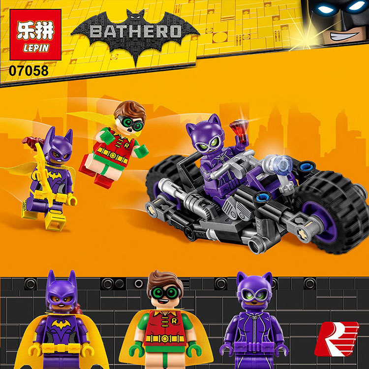 Lepin 07058 New Genuine Batman Movie Series The Catwoman Motorcycle Chase Set Building Blocks Bricks Educational Toys