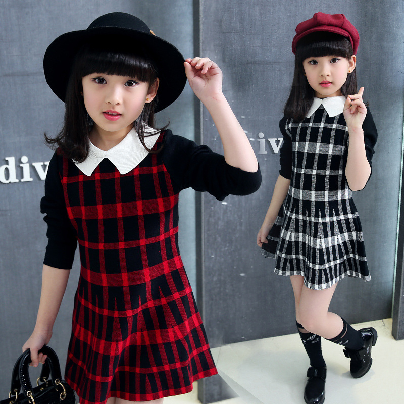 Elegant Dresses For Girls 4 13 Year Back To School Outfits Long Sleeve Palid Kids Dress Toddler Girl Clothing Baby Vintage Dress