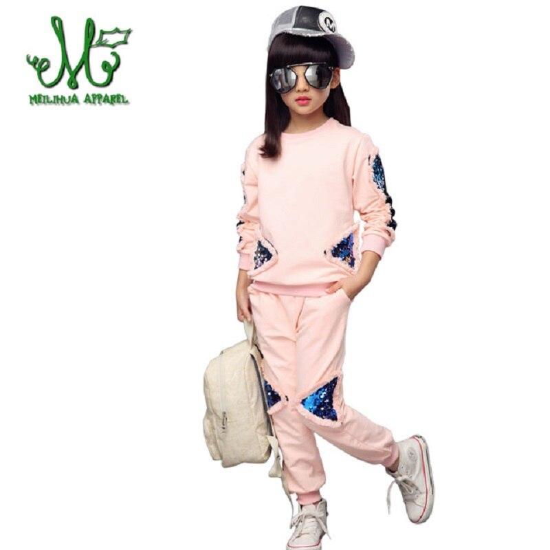 Big Girls Clothing Set Solid Sport Suit Sequin 5 8 10 12 14 Tracksuit 2018 Spring Kids Coat+Pants Girls Clothes School style v tree girls clothing sets zipper coat pants sport suit for teenagers splice girls school uniform kids tracksuit 10 12 years