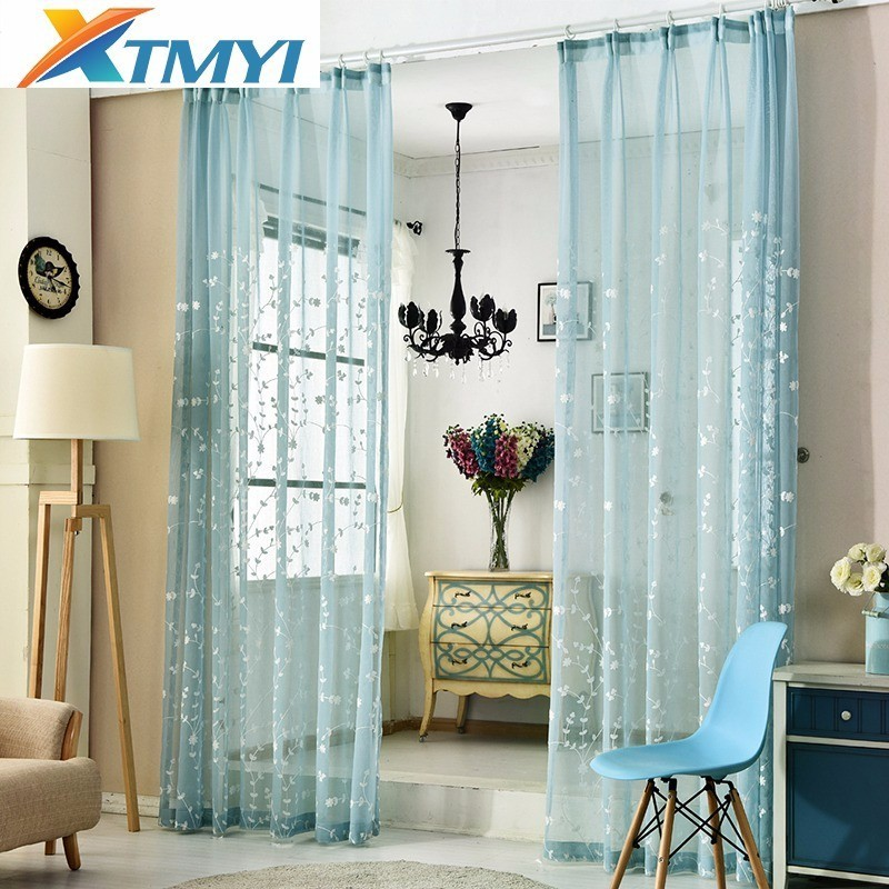 linen embroidered sheer tulle curtain for living room bedroom white green blue pink  Curtains for Bedroom Window Screening