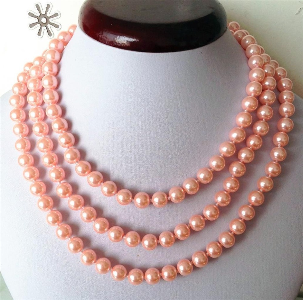 2017 New 8mm Pink Ocean Shell Pearls Necklace Pearl Jewelry Making Rope  Chain Pearl Beads Natural