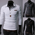 Trade spring Wholesale 2015 Long Sleeve Mens Polo Shirt stitching Paul casual shirt 30