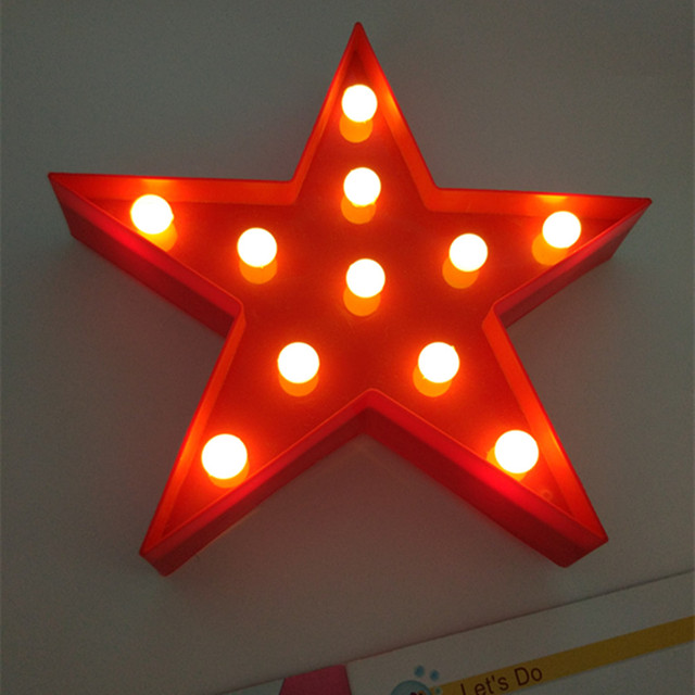YIYANG Letters Light Star Shape LED Plastic Marquee Light Battery Operated LED Marquee Sign for Home Christmas Decorative Lamps