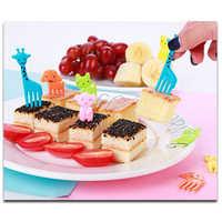 Widelec do owoców 10 sztuk/paczka śliczne mini bento wybrać dzieci innowacyjne plastikowe bento dekoracyjne widelce zestaw widelców domu sztućce cute cat