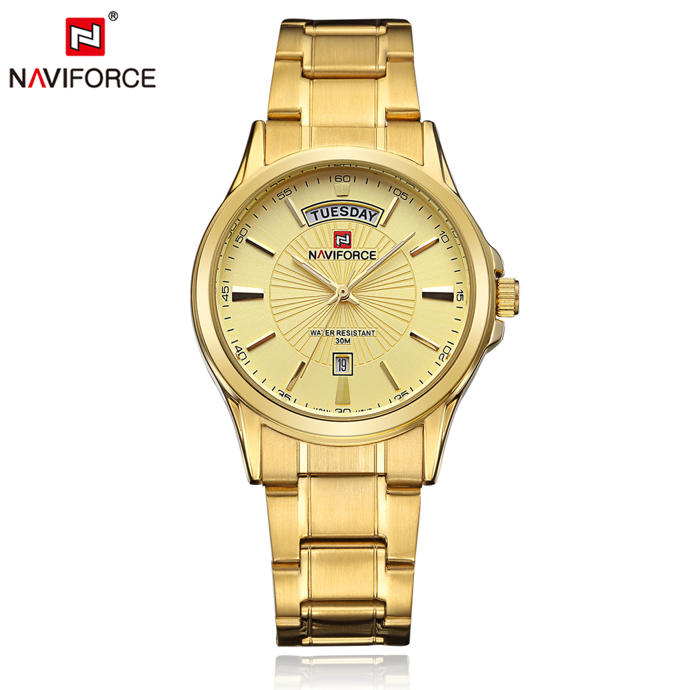 NAVIFORCE Luxury Brand Gold Steel Men s Quartz Wristwatch Fashion Casual Dress Business Sport Watch Men