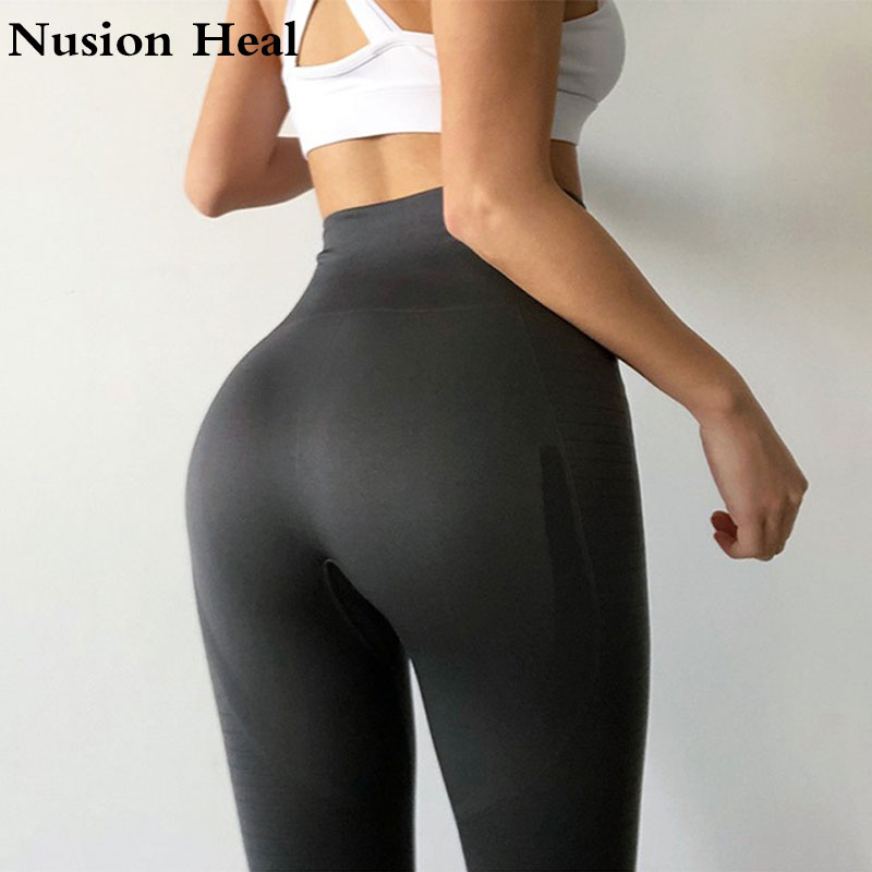 2018 Yoga Pants Black Sport Leggings High Waist Push Up Sexy Gym Running Workout Sport Fitness Leggings For Women Running Tight