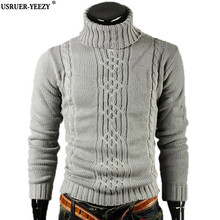 USRUER-YEEZY Promotion New Sweater Men's 2017 Brand Fashion Pullovers Casual Male Jacquard High Lapel Slim Sweaters Man Pullover
