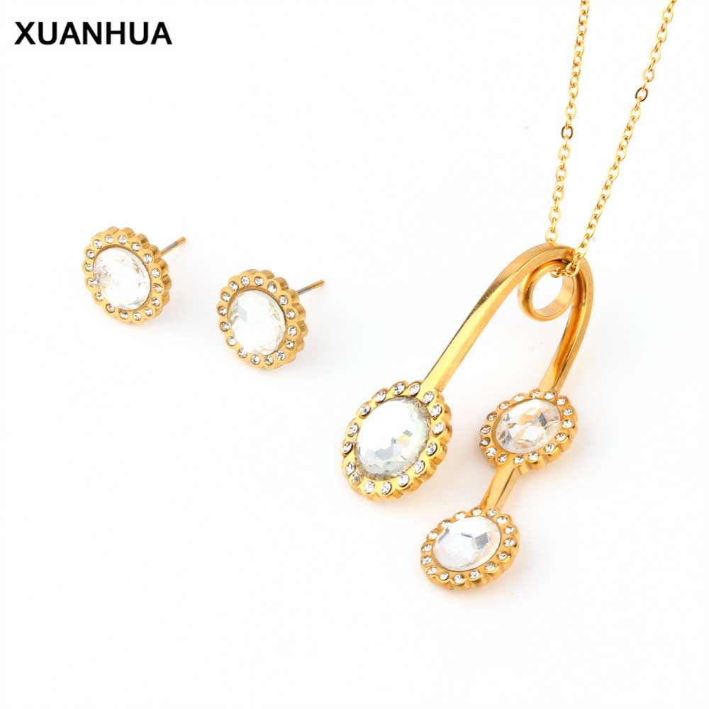 XUANHUA Stainless Steel <font><b>Jewelry</b></font> Women Wedding <font><b>Jewelry</b></font> <font><b>Sets</b></font> Stone Necklace <font><b>Set</b></font> Accesories Indian <font><b>Jewelry</b></font> <font><b>Set</b></font> <font><b>For</b></font> Women <font><b>2019</b></font> image