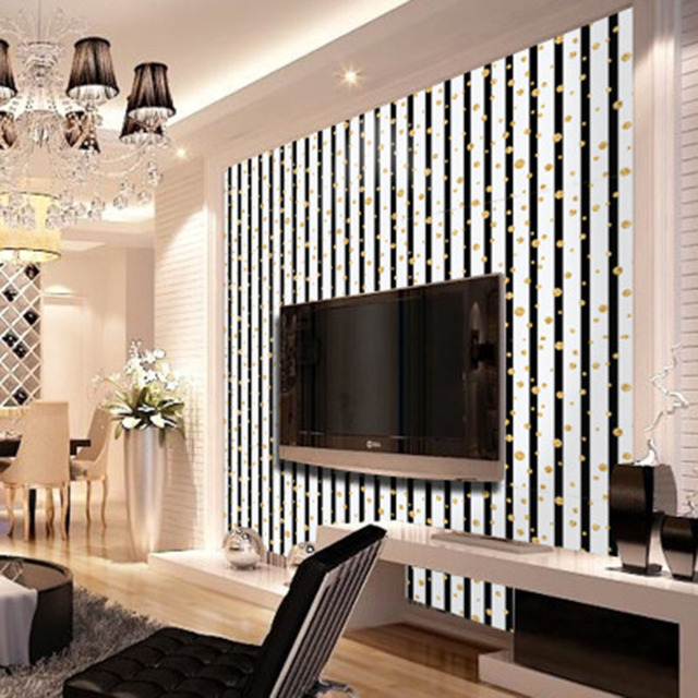 Golden Circle Polka Dot Vertical Stripe Pattern Wallpaper Poster Cabinet Tv Background Self Adhesive Pvc