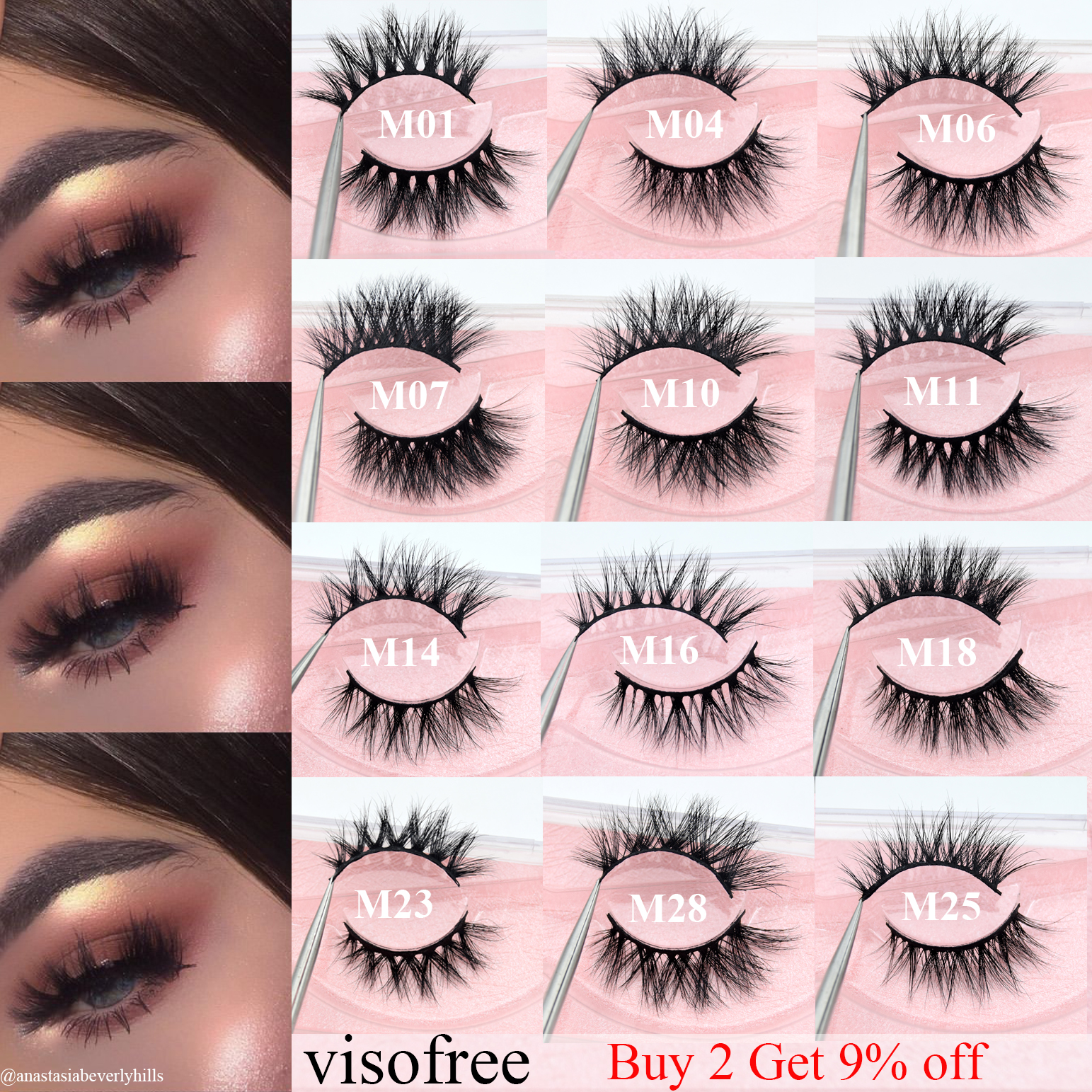 Visofree Lashes Natural False Eyelashes Fake Lashes Long Makeup 3D Mink Lashes Eyelash Extension Mink Eyelashes Beauty 43 Styles