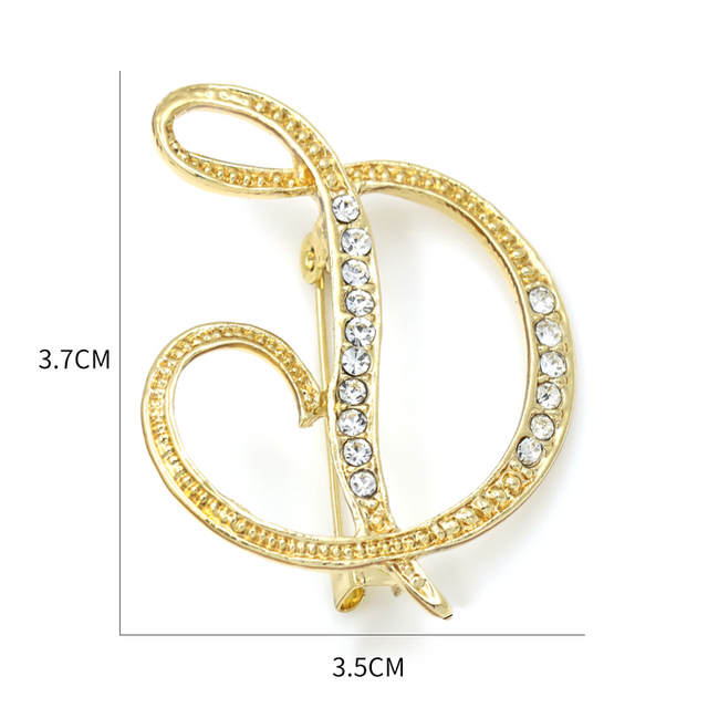 placeholder WEIMANJINGDIAN Brand Letters A to M Clear Crystal Rhinestone  Brooch Pins for Women Jewelry in Gold e0808c2e3df2