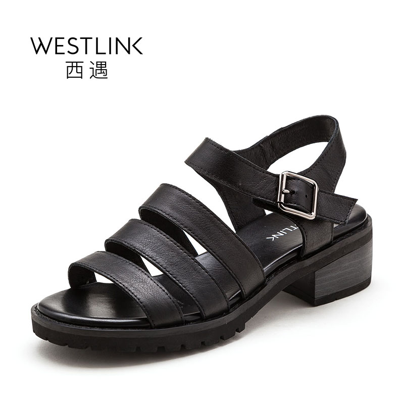 ФОТО Westlink Top Layer Cow Leather Gladiator Shoes Hook&Loop Square Mid Heels Casual Women Sandals Black Apricot 2017 Summer New