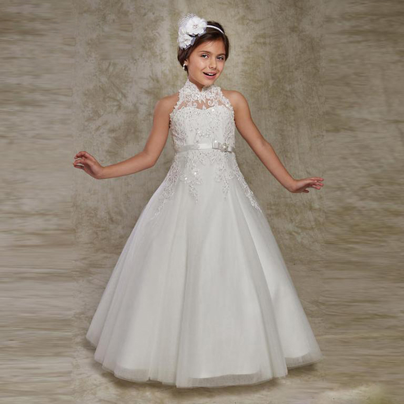 Tulle Appliques Beaded Flower Girl Dresses For Wedding High Neck Kid Gowns A-Line Long Communion Dresses