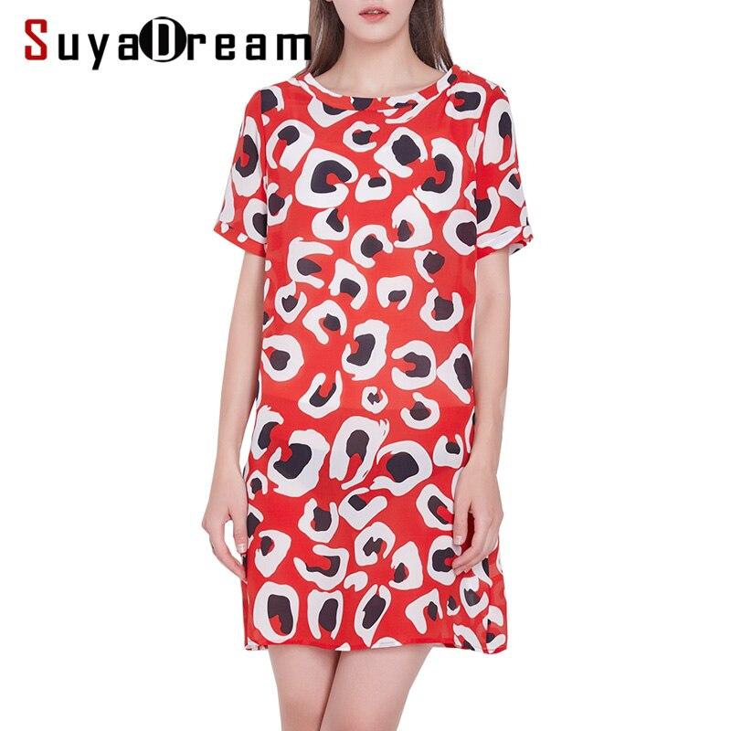 Women Silk dress Luxury 100 Natural silk Short sleeved Mini Length Printed dresses 2019 Spring Summer