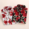 New S 3XL Floral Blouse Plus Size Long Sleeve Casual Women Shirts Cotton Turn Down Collar