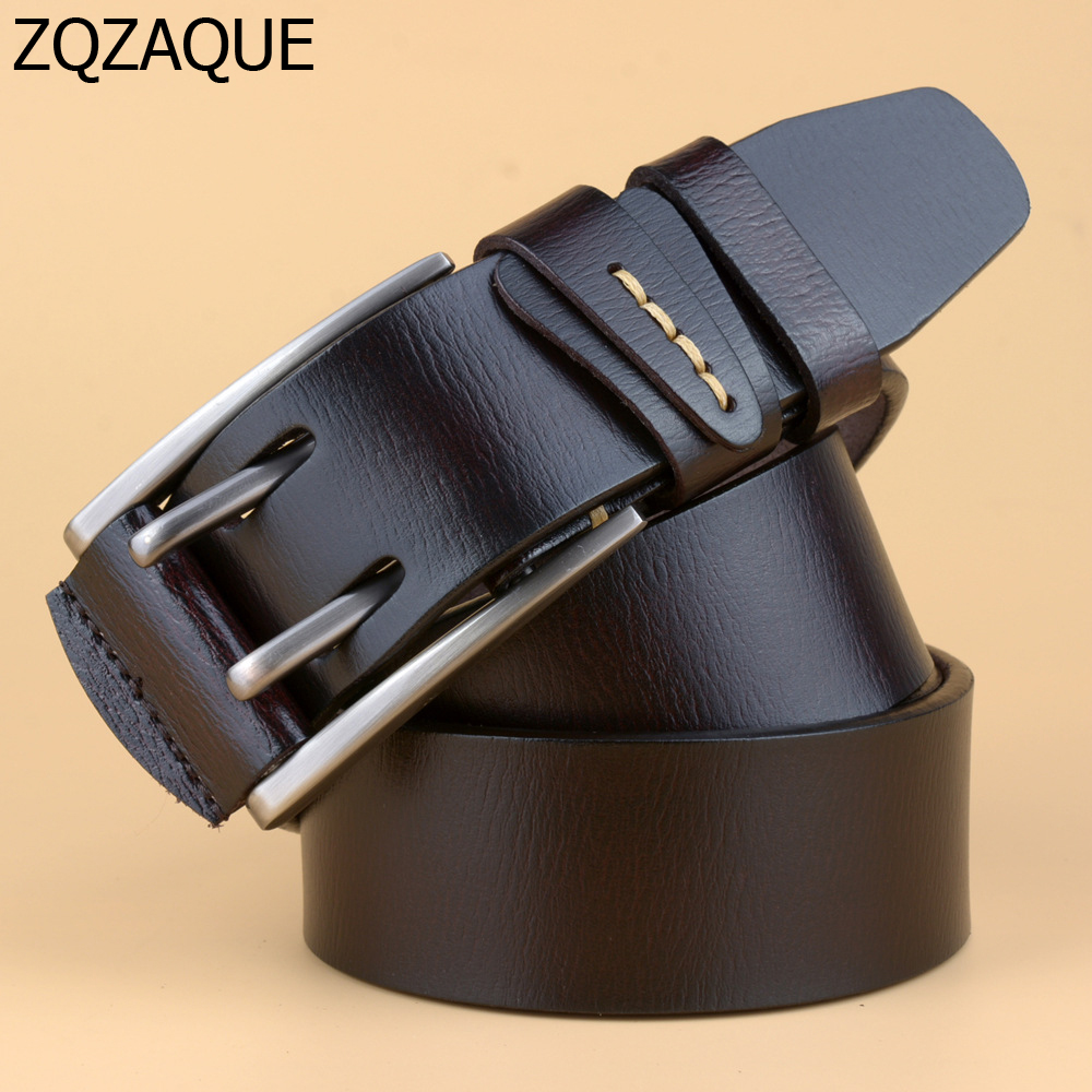 2018 British Style Double Pin Buckle High Quality Genuine Leather   Belt   For Men Casual Jeans Waistbands Strap Free Shipping SY086