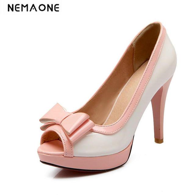 7cfca8cf2 Meninas vestido bombas de sapatos cor de rosa de peep toe sapatos de salto  alto bowtie