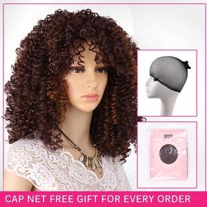 Image 5 - AmirวิกผมAfro Kinky Curly Wigsสำหรับผู้หญิงเส้นใยสังเคราะห์ทนความร้อนสีดำสีน้ำตาลสีแดงเต็มวิกผมคอสเพลย์วิกผม