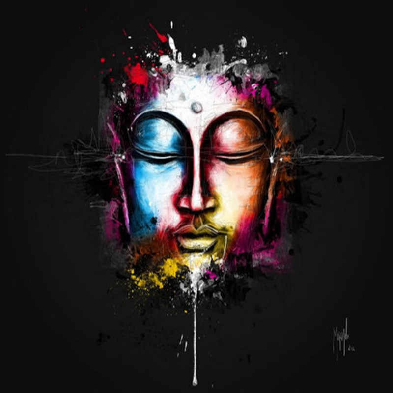 Hd Printed Blanck Buddha Color Face Abstract Art Painting On