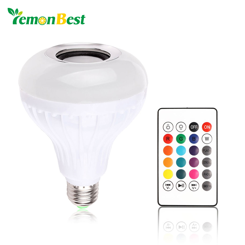 LemonBest AC100-240V Bluetooth 3.0 Music Audio RGB Speaker Light RGB 12W E27 LED Bulb Lamp for iOS Android with Remote Control remote control music player bluetooth speaker energy saving e27 18 colors change led bulb light lamp for ios android smartphone