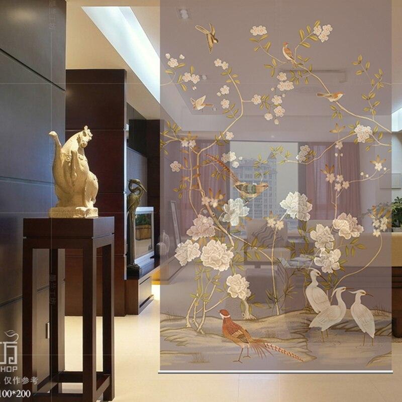 Toile impression peinture tulle cloison rideau translucide salon suspendu rideau chambre douce diviser écran modèles conceptions