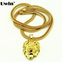 מלך אריות תליון & דוחה שרשרת היפ הופ שרשרת בזהב טון מצופה זהב האריה פנים תליון עיצוב שרשרת