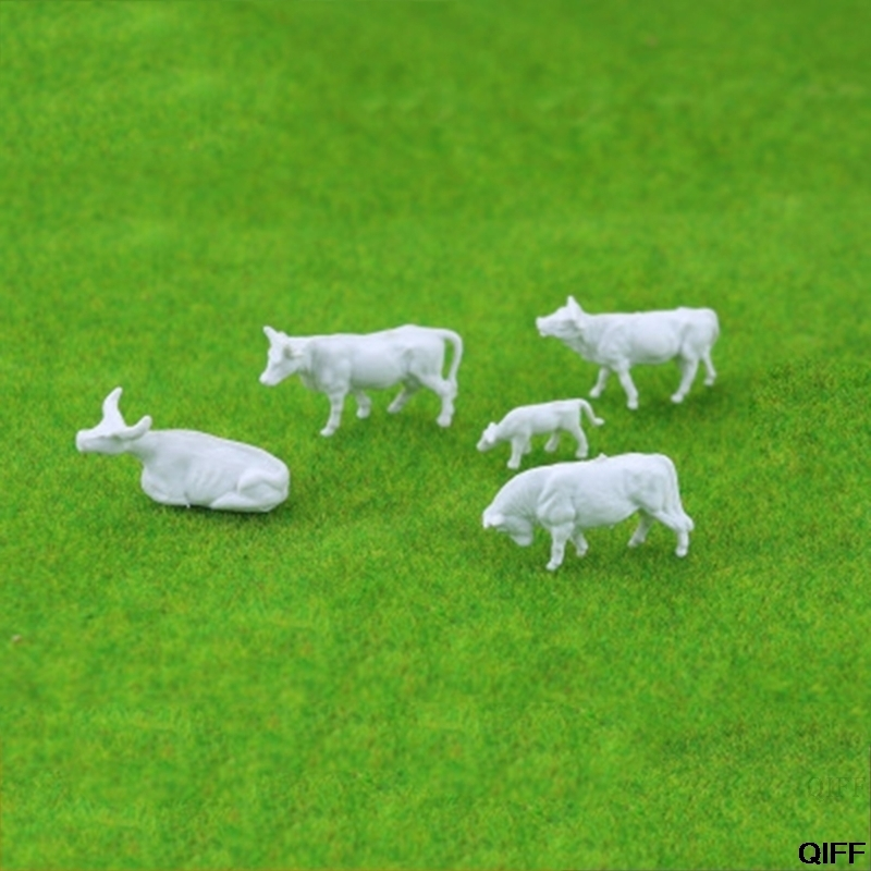 Drop Ship&Wholesale New 10pcs 1:87 Diy HO Scale White Cow Model Train Layout Model Building Toys May06