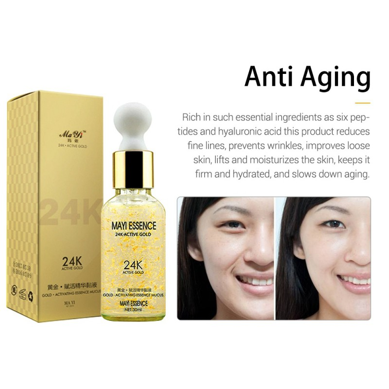 24K Gole Essence Hyaluronic Whitening Acid Face Care Anti Aging Collagen Liquid Skin Whitening Cream Anti Wrinkle Moisturizing