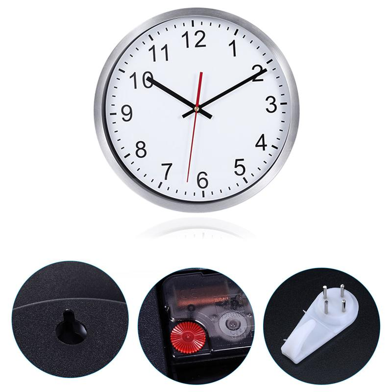 12 Inch Large Indoor Non-Ticking Wall Clock Silent Decorative Silver Frame Wall Clock Creative Modern Metal Clock With Hook