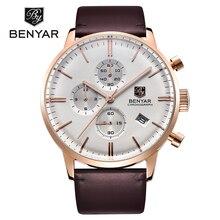 Relogio masculino 2016 Reloj BENYAR Marca Moda Casual Sport Relojes de Cuarzo de Los Hombres reloj de Buceo 30 M Reloj de pulsera de Cuero Genuino hombre