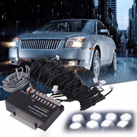 LESHP Car Emergency Warning Light Lamp Universal 160W White Flash Strobe Light With 8 LED Bulbs