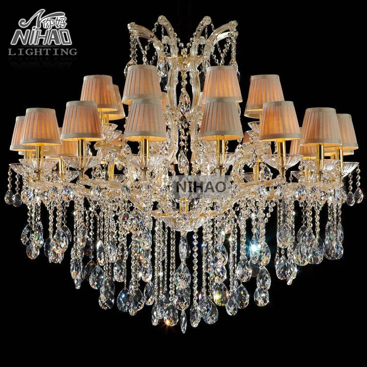 Classical style lighting fixture shades collection colored Big glass chandeliers crystal 24 Lights for Foyer,Lobby,villa MD8747
